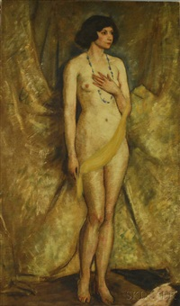 nude, brunette with green beads by james drummond herbert