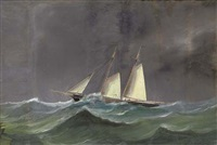 a racing schooner under reduced sail at sea by a. de simone