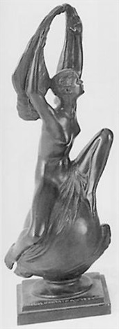 nude winged woman seated on a footed sphere by mabel viola harris conkling