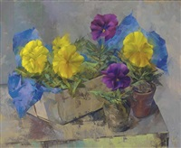still life with pansies by leonard appelbee