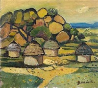 huts in a rural landscape by pranas domsaitis