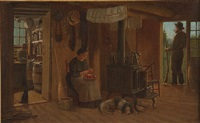 rural cabin interior scene by charles cole markham
