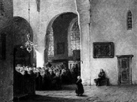 people attending mass in a church interior by adrianus wilhelmus nieuwenhuyzen