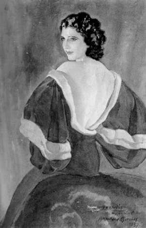 Portrait Of A Woman In A Velvet Dressing Gown By Mcclelland Barclay