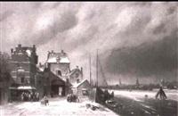 winterliche flusslandschaft by hermanus gerardus gerrebramds