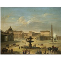 roman view of saint peter's by michelangelo pacetti