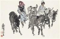 欢乐放牧图 (donkey) by huang zhou