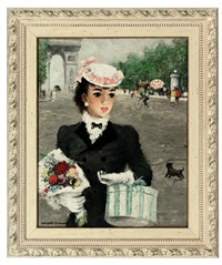 an elegant lady before the arc de triomphe by alfred sangster