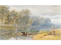a river scene, fishermen on a bank beside a moored punt by samuel phillips jackson