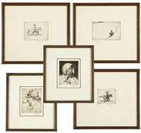 trapper with pipe; senora; cowboy on horseback descending a hill; cowboy on trotting horse; and cowboy on galloping horse (5 works) by joe de yong