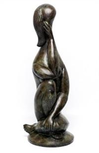 contemplative assise une main sur le genoux by baltasar lobo