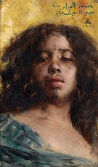jeune fille aux cheveux noirs bouclés by georges gasté