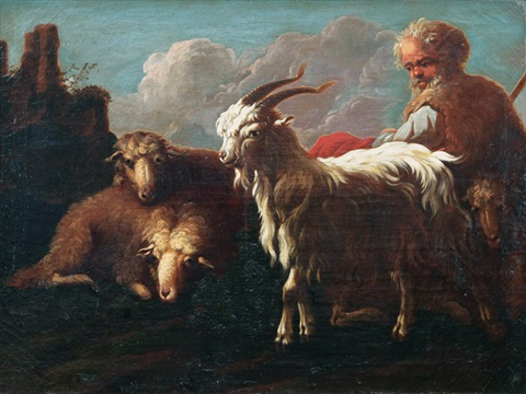 herdsman with goat and sheep by philipp peter roos