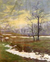 early winter landscape with turbulent sky by john j. dull