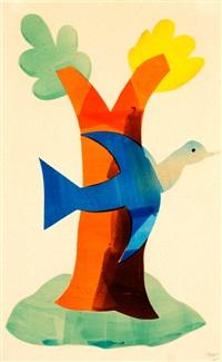 vogel voor boom (ook bekend als de blauwe vogel) by hendrik nicolaas werkman