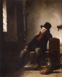 an allegory of freedom, a boy in an interior with a top hat by jean bruno gassies