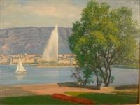 le jet d'eau et voilier sur le lac de genève by paul-léon bleger