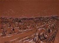 erntefeld - sommerliches feld nach der ernte bei arrode by peter august böckstiegel