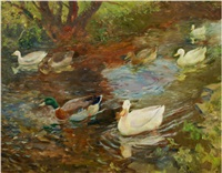 seven ducks on the water by charles walter simpson
