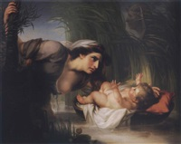 the mother of moses setting him into the river by john francis rigaud