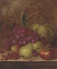 grapes, pears, redcurrants, a melon and a tomato on a ledge by william hooper