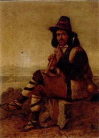a piper seated in an extensive landscape by archibald gunn