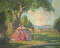 garden landscape with two women by camillo adriani