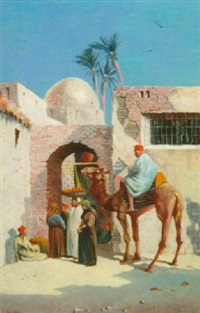 arabs before the gates of a town by john coulson