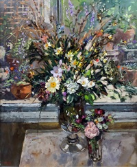 flowers in the window - still life with vase of mixed flowers by pamela kay