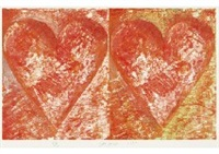 two red hearts (2 panels) by jim dine