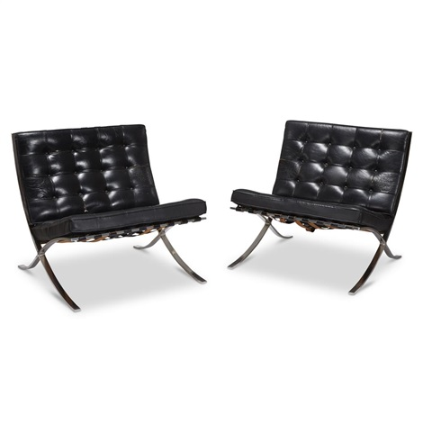 Pair Of Barcelona Chairs Knoll International By Ludwig Mies Van Der
