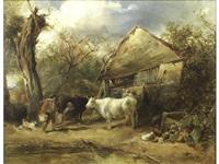 farmyard scene by john linnell