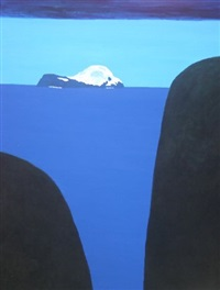 untitled (bue seascape with snowcapped island) by stan rosenthal