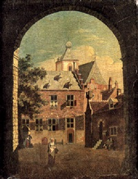 a scene in a courtyard in a dutch town with figures promenading by jan ten compe