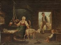 allmogeinteriör med kvinna som klipper får by bengt nordenberg