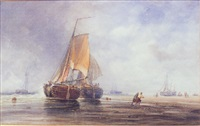 low tide at scheveningen by alfred herbert