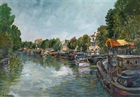 banks of seine in the suburbs by alexis guy korovin