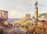 le calvaire sur les ruines romaines, provence by hippolyte leymarie