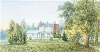 view of a country house and garden by walter duncan