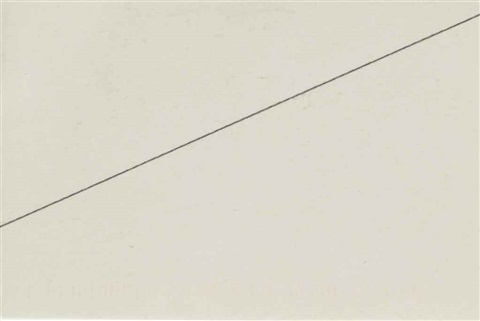 one-line drawing (postcard) by carl andre