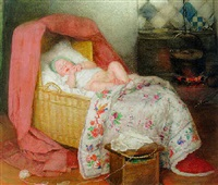 sleeping baby by wally (walburga wilhelmina) moes