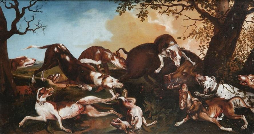 wildschweinhatz landschaftsstück mit meute aus zehn teilw verletzten hunden beim angriff auf einen keiler by frans snyders