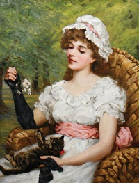 lady playing with kitten by constance selous