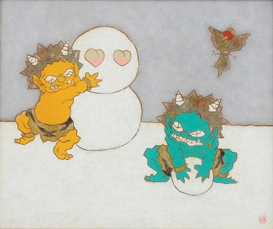 figure momotaro, playing in the snow at onigashima by kazuyuki takishita