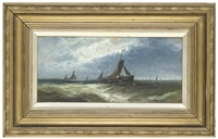 fishing boats in choppy waters (+ 2 others; set of 3 works) by william hale