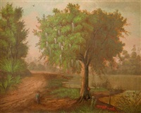 louisiana landscape with a hunter on a rutted road by a river with cattle watering by marie roussel de calcinara