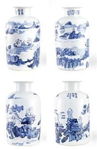 刘二刚 青花山水瓶 by liu ergang