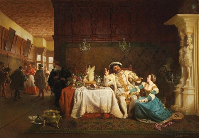 anna boleyn überredet könig heinrich viii zur entlassung des kardinals wolsey by emanuel gottlieb leutze