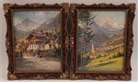 blick auf heiligenblut, bauernhaus in hofgastein (2 works) by georg janny