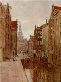 view of the oude kolk, amsterdam, with the montelbaanstoren beyond by felicien bobeldyk